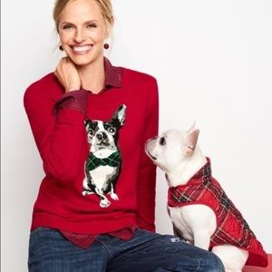 Talbots red Boston terrier petite sweater
